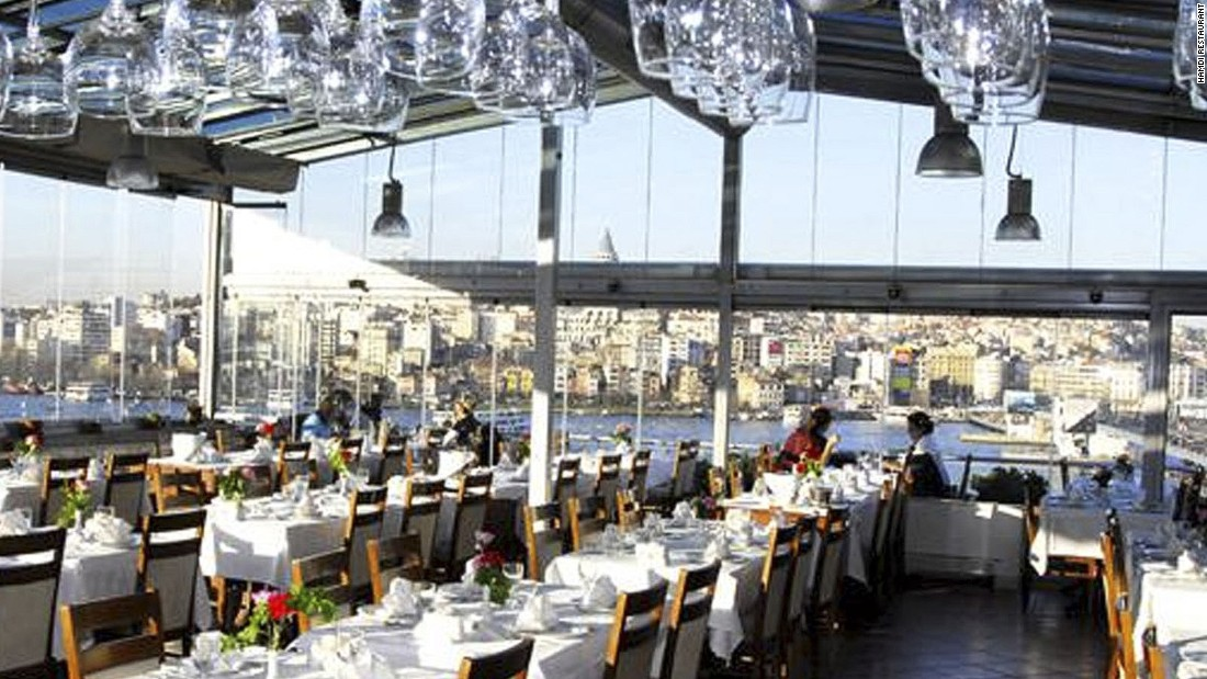 Hamdi Restaurant in Istanbul offers extraordinary views of the Golden Horn. Specializing in southeastern cuisines, a signature dish is the testi kebabi, which is made with veal, tomatoes, onions, garlic, pepper, oregano, tomato paste and butter.