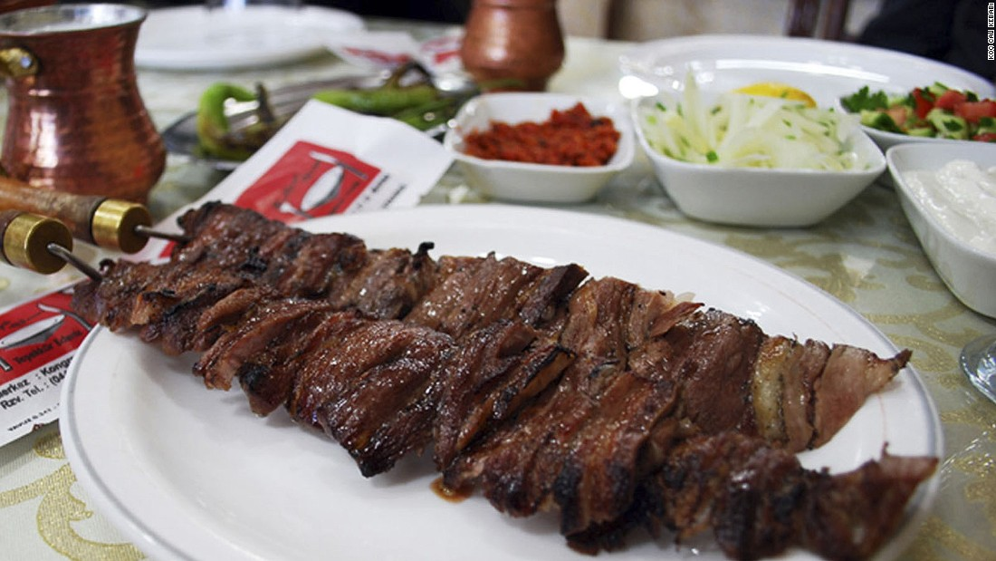 Cag kebabi is an Erzurum specialty best enjoyed at Koc Cag Kebabi. It's made of lamb marinated with onions, salt and pepper for 12 hours then placed on a large, horizontal skewer and cooked over a wood fire.