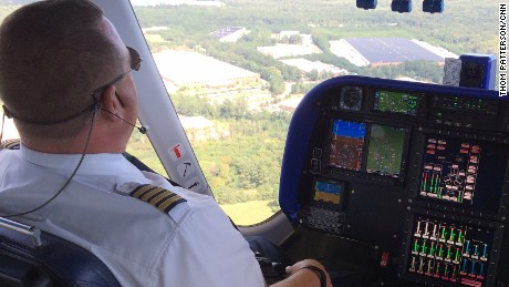 Capt. Jerry Hissem flys Goodyear's first zeppelin airship -- Wingfoot One -- near Covington, Georgia, in October 2015.