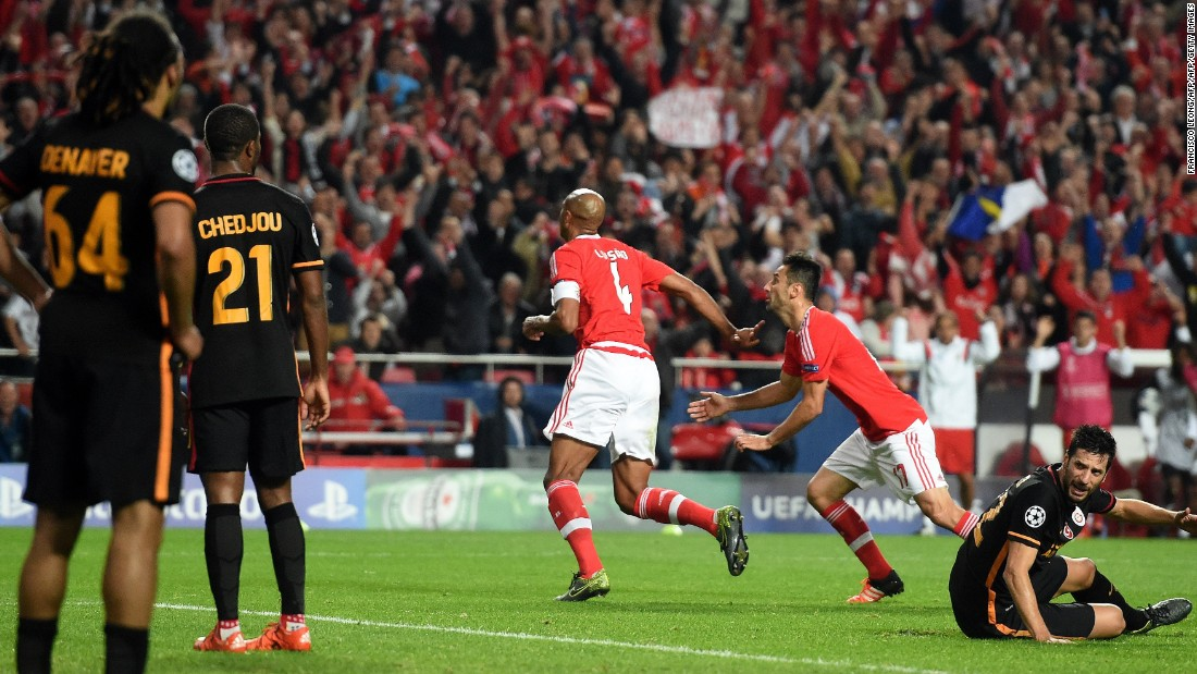 Benfica, seen here celebrating a goal against Galatasaray in the group stage, takes on Zenit St Petersburg next.
