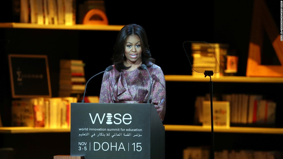 "First lady Michelle Obama delivers a speech in Doha, Qatar, during the World Innovation Summit for Education on Wednesday, November 4. Obama will be visiting Qatar and Jordan during her seven-day tour of the Middle East, where she is promoting her girls' education initiative, ""Let Girls Learn,"" as well as the Joining Forces program that helps service members and their families."