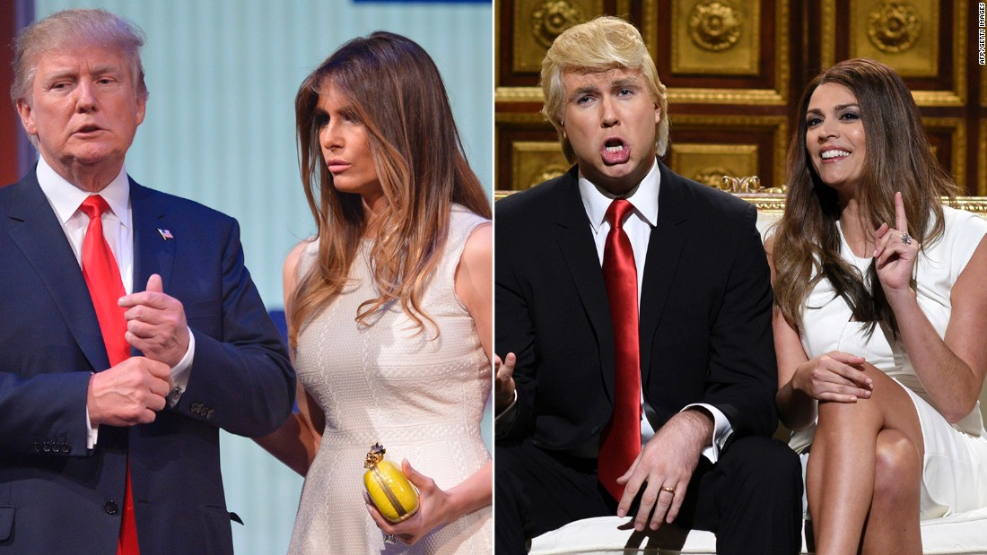 "Actors Taran Killam and Cecily Strong revealed their impersonations of Republican presidential candidate Donald Trump and his wife, Melania, on a ""Saturday Night Live"" episode in October.<br />"