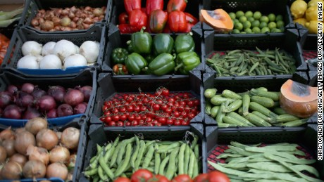 LONDON, UNITED KINGDOM - MAY 23:  Fruit and vegetables are displayed for sale at a grocers shop on May 23, 2014 in London, United Kingdom. Researchers at University College London recently said that eating 'five-a-day' of fruit and vegetables should be increased to seven. The study involving 65,226 men and women concluded that lifestyles which included at least seven-a-day reduced the chances of serious health issues.  (Photo by Christopher Furlong/Getty Images)