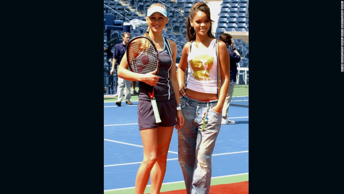 While she might have left the WTA Tour, Kournikova continued to make appearances at charity events. Here, she poses with pop singer Rihanna at the Arthur Ashe Kids Day in 2005.