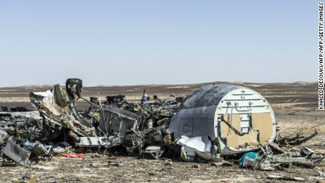 Debris belonging to the A321 Russian airliner are seen at the site of the crash in Wadi al-Zolomat, a mountainous area in Egypt's Sinai Peninsula on November 1, 2015. International investigators began probing why a Russian airliner carrying 224 people crashed in Egypt's Sinai Peninsula, killing everyone on board, as rescue workers widened their search for missing victims. AFP PHOTO / KHALED DESOUKI        (Photo credit should read KHALED DESOUKI/AFP/Getty Images)