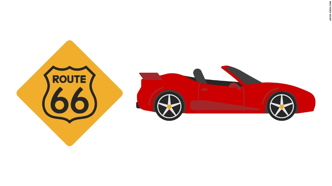 Nothing says America like a road trip on one of its most famous highways. While Italy's passion for super-charged Maserati, Ferrari and Lamborghini engines is celebrated with a sports car emoji.