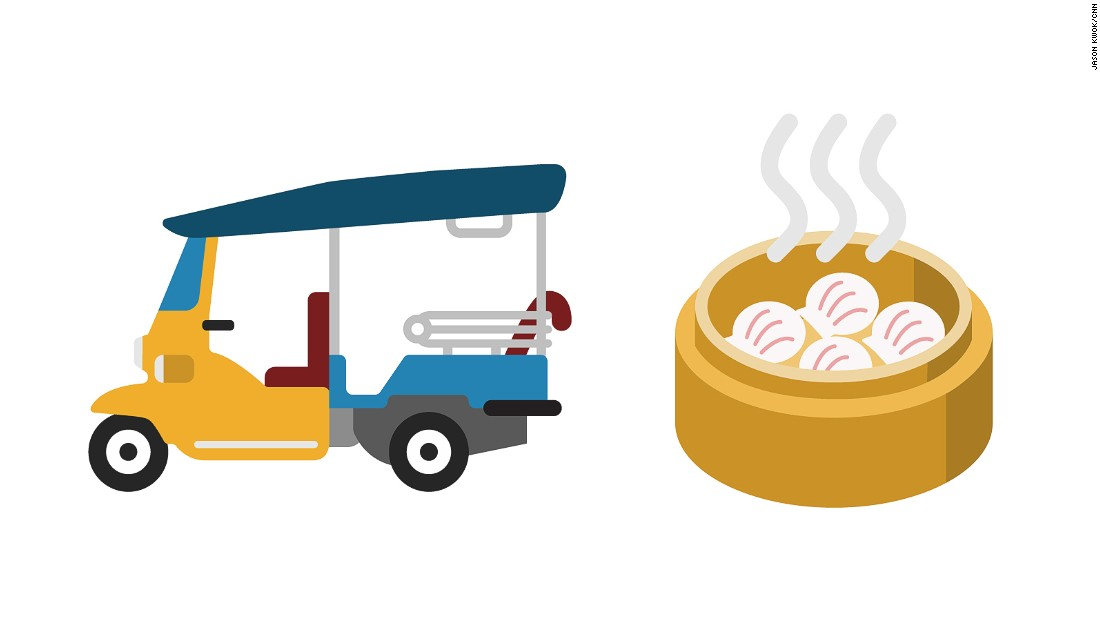 A classically cool tuk tuk taxi is our suggestion for Thailand, while a steaming bamboo basket of mouthwatering har gow shrimp dumplings dim sum represents Hong Kong.