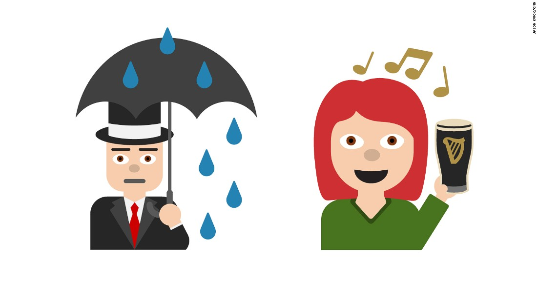 """The UK endures typically soggy skies while Ireland raises a glass of Guinness in an emoji celebrating the country's legendary """"craic agus ceol"""" -- fun and music."""