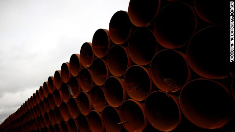 Pipe is stacked at the southern site of the Keystone XL pipeline on March 22, 2012 in Cushing, Oklahoma. U.
