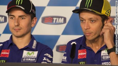 Lorenzo alongside Valentino Rossi.