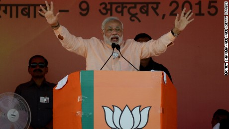 Indian PM Narendra Modi on the campaign trail in Aurangabad, Bihar state, in October.