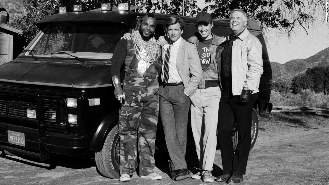 "The ""A-Team"" television series ran from 1983 to 1987. It also starred Liam Neeson and Bradley Cooper in a 2010 remake. Above is an image from Episode 17 of the original series. The actors are posing with the black and gray GMC Vandura used by the team."