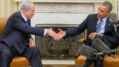 President Barack Obama shakes hands with Israeli Prime Minister Benjamin Netanyahu in the Oval Office of the White House in Washington, Monday, Nov. 9, 2015. The president and prime minister sought to mend their fractured relationship during their meeting, the first time they have talked face to face in more than a year. (AP Photo/Andrew Harnik)
