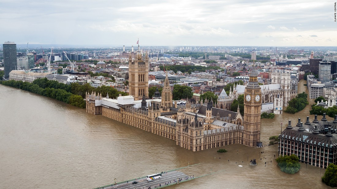 And here's how the Houses of Parliament could look if temperatures rise by four degrees Celsius.