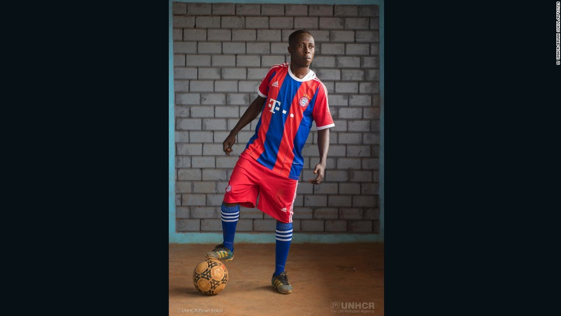 Teddy Gossengha, 23, was once the youngest player on the CAR junior national soccer team, and then played for professional clubs in Bangui -- first Tempete Mocaf, then ASOPT -- before fleeing violence two years ago.