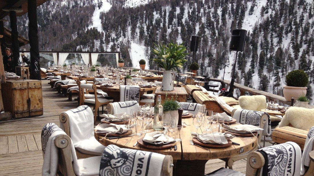 Mountain slopes surround the roomy Chez Vrony terrace -- an ideal place to try the restaurant's warming Bloody Mary soup.
