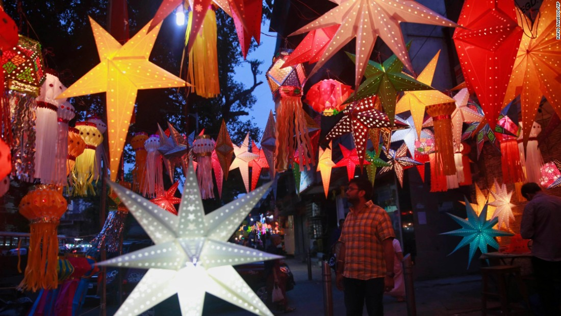 Lanterns are on display in Mumbai on November 10.