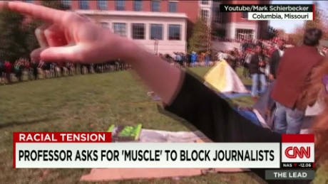 mizzou protesters clash media journalism school professor lead live_00011630