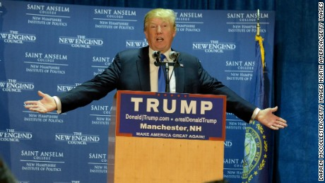 "MANCHESTER, NH - NOVEMBER 11: Republican Presidential candidate Donald Trump speaks at ""Politics And Eggs"" at the Radisson Hotel, on November 11, 2015 in Manchester, New Hampshire. Coming off the fourth debate Trump continues to run strong in the polls. (Photo by Darren McCollester/Getty Images)"