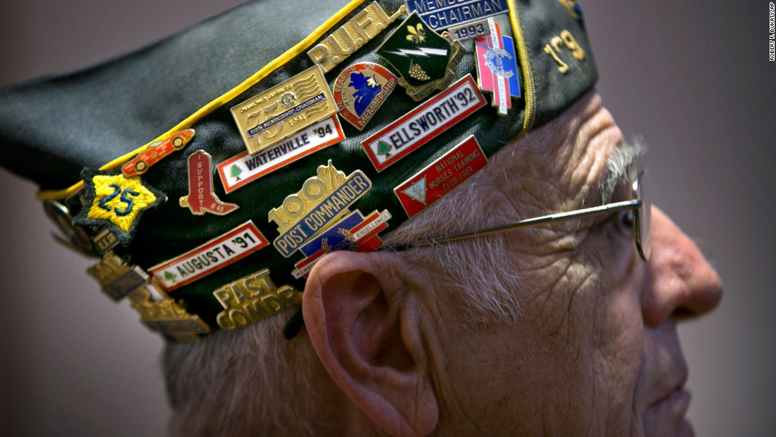 Army veteran Howard Morang attends a Veterans Day ceremony at the Maine Veterans' Home in Augusta, Maine.