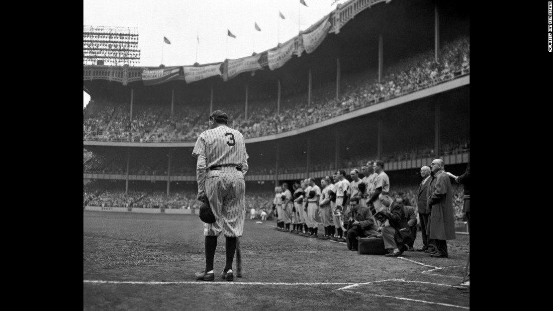 Photographer Nat Fein was assigned to cover the final appearance of baseball icon Babe Ruth at New York's Yankee Stadium on June 13, 1948. He photographed Ruth from behind to show his number, which would be retired.  Fein won the Pulitzer Prize in 1949. He used a 4x5 Speed Graphic with a film holder containing 4x5 cut film. It was a dark overcast day but Fein opted to not use a flash so he could include the stands in the background. He exposed at 1/25th of a second (a very slow shutter speed) at f5.7.