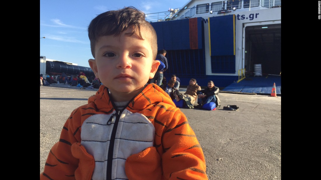 Ali is 15 months old. He's also waiting to get on a boat to Athens. His hometown of Jarablus in northern Syria is an ISIS stronghold. His uncle, who he never got to meet, was one of the first five people beheaded for attempting to resist ISIS in Jarablus.