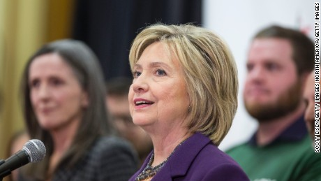 Hillary Clinton speaks at the an event in Nashua, New Hampshire on November 9, 2015.