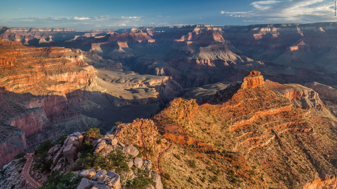 The South Kaibab Trail drops to the Colorado River in the bottom of the Grand Canyon in just under seven miles. Numerous day hike options turn around at phenomenal viewpoints if you don't want to commit to an overnight trip to the bottom of the canyon.