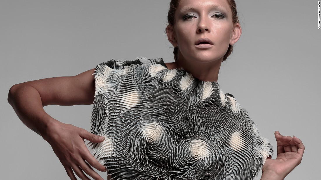"In 2015, architect Behnaz Farahi <a href=""http://edition.cnn.com/2015/11/18/fashion/caress-of-the-gaze-wearable-tech/"">created</a> a 3D-printed garment that can detect the gaze of others."