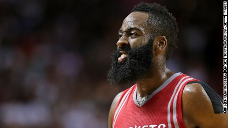 MIAMI, FL - NOVEMBER 01: James Harden #13 of the Houston Rockets looks on during a game against the Miami Heat at American Airlines Arena on November 1, 2015 in Miami, Florida. NOTE TO USER: User expressly acknowledges and agrees that, by downloading and/or using this photograph, user is consenting to the terms and conditions of the Getty Images License Agreement. Mandatory copyright notice:  (Photo by Mike Ehrmann/Getty Images)