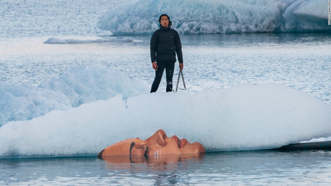 "Artist Sean Yoro paints directly onto melting ice floes. <a href=""http://edition.cnn.com/2015/11/13/arts/gallery/sean-yoro-glacier-mural/"" target=""_blank"">These murals </a>only survived a week."