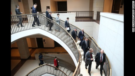 "WASHINGTON, DC - NOVEMBER 10:  U.S. Senators, staff, and journalists walk to a closed briefing given by Brett McGurk, deputy special presidential envoy for theÊGlobal CoalitionÊto Counter ISIL, at the U.S. Capitol November 10, 2015 in Washington, DC. The briefing was titled ""Update on the Campaign ""Update on the Campaign Against ISIS in Syria.""   