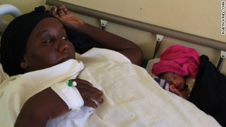Halima Hussein with her sixth baby -- the first one to survive, after five miscarriages.
