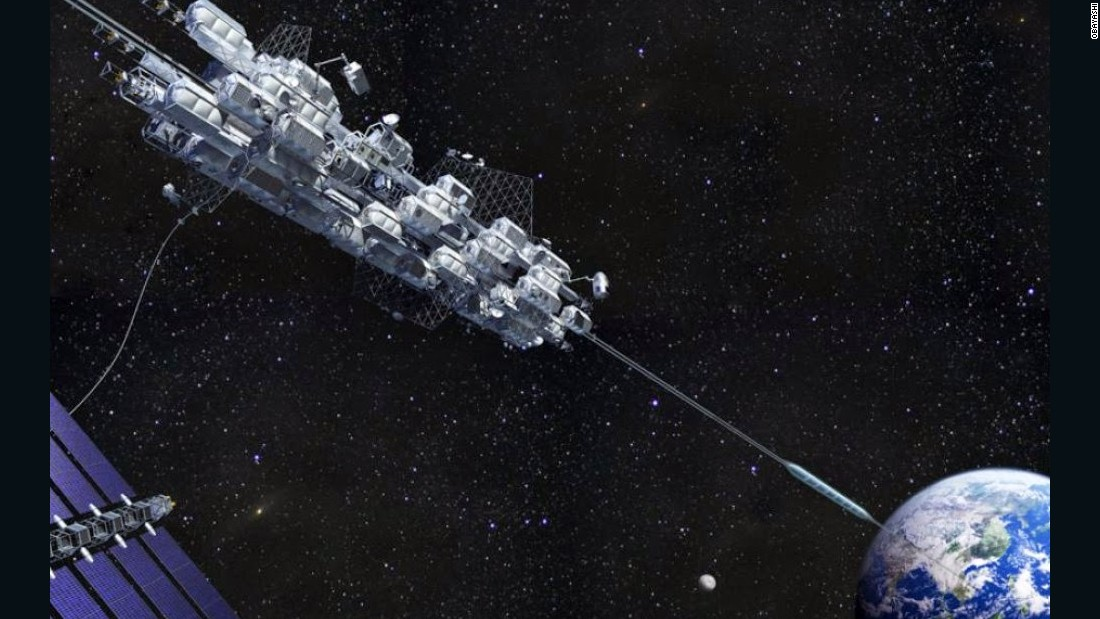 Japanese construction company Obayashi Corporation has been working on a space elevator concept, which would take passengers on a ride into space on a cable made of diamonds. Their researchers believe that advances in carbon nanotechnology could make a space elevator possible as soon as 2030.