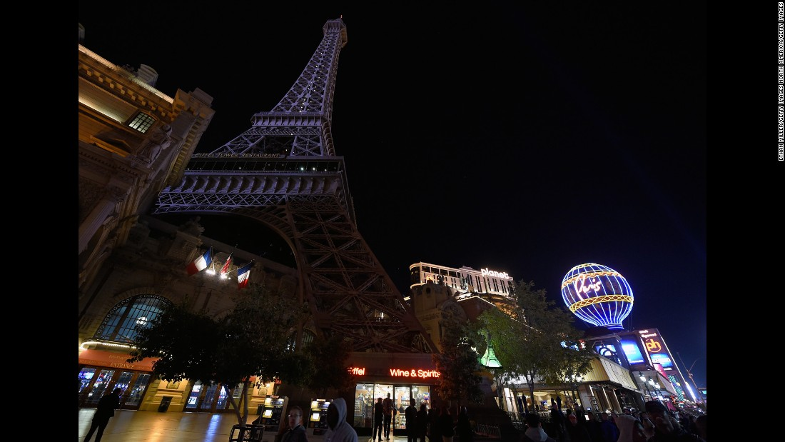 The Eiffel Tower replica at Paris Las Vegas was dimmed over the weekend.