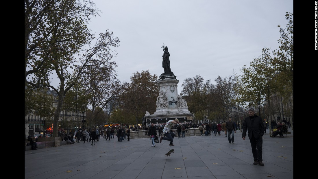 People gather on November 14 at the Place de la Republique square.