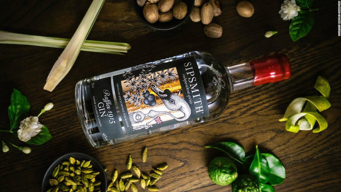 Paying tribute to the hotel's location, and Sir Stamford Raffles, Raffles 2015 gin is infused with Southeast Asian flavors including juniper, coriander, cinnamon, pomelo, lemongrass, jasmine, nutmeg, mace and clove.
