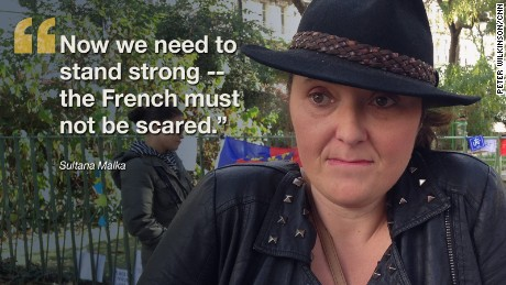 """Even though I've tried to limit the news, my kids are traumatized. They don't understand what is happening. Now we need to stand strong -- the French must not be scared,"" says Sultana Malka"