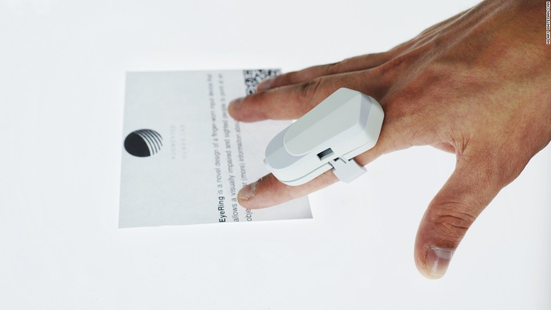 "The ""FingerReader"" reads text aloud as the user traces words with their finger. Its creators have been working with production companies in China. ""The plan is to make small volume manufacturing and give it to a few blind communities to see how this would perform in their lives,"" says Suranga Nanayakkara of the Augmented Human Lab in Singapore."