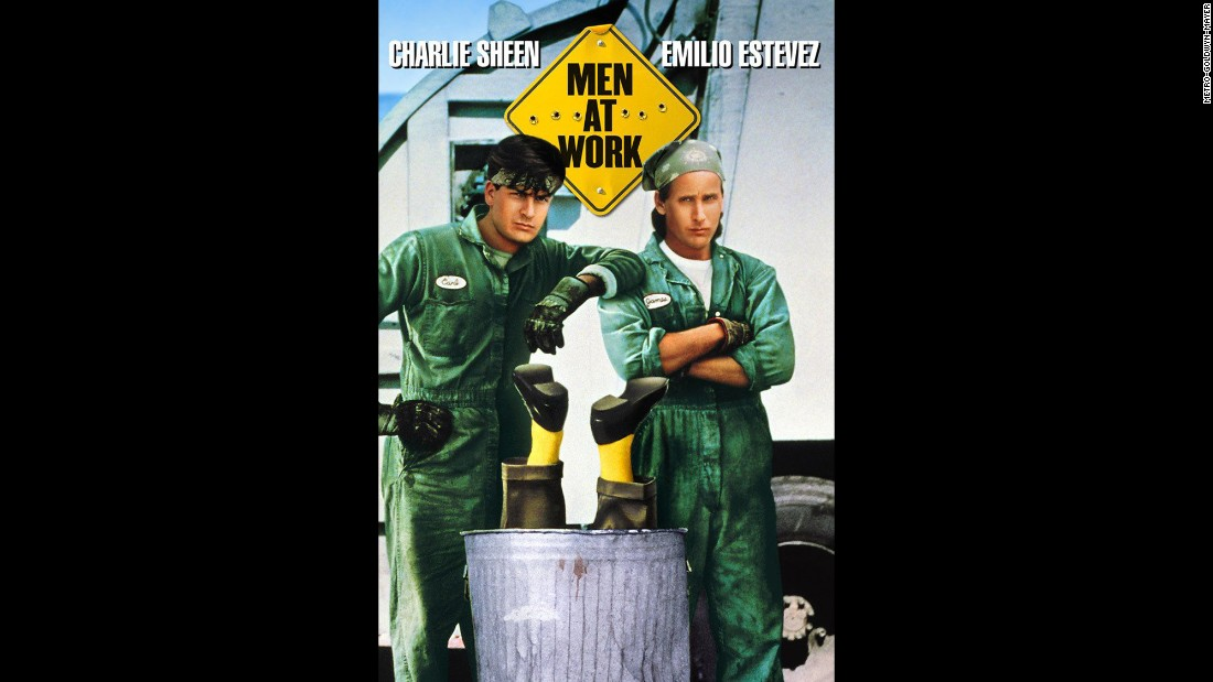 "After becoming one of the hottest young actors of the '80s, Sheen saw his star dim in the '90s. Here he is in a poster for ""Men at Work,"" a minor comedy that starred him and brother Emilio Estevez as garbagemen who stumble on a nefarious plot."