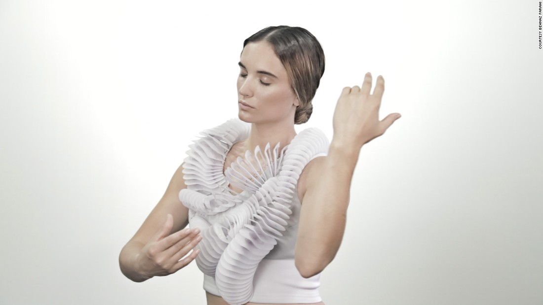 With designer Pauline van Dongen, she created <em>Ruff</em>, a spring-loaded 3-D-printed garment that coils around the body.