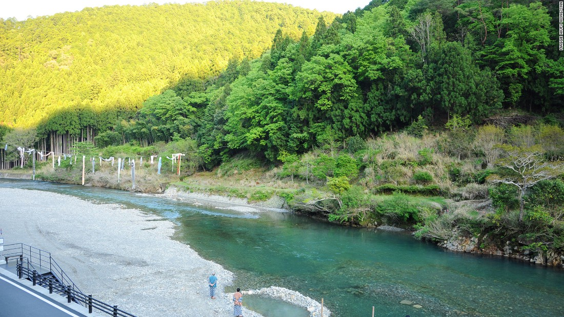 Three ancient onsen villages are located in Tanabe. At Kawayu Onsen (pictured), holes dug along the river have created natural outdoor bathing areas.