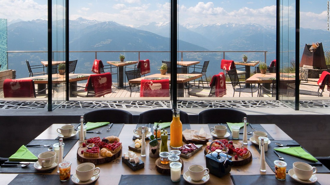 "It's breakfast time -- and this is the stunning view from the restaurant at <a href=""http://www.chetzeron.ch/en/"" target=""_blank"">Hotel Chetzeron</a>, atop the ski slopes in Crans-Montana, Switzerland."