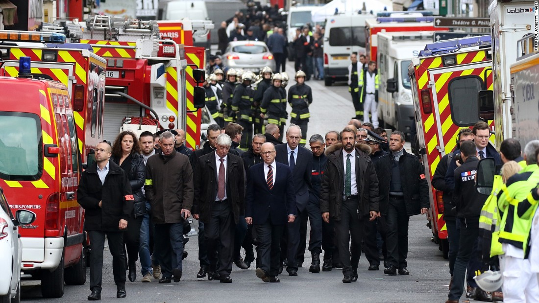 French Interior Minister Bernard Cazeneuve visits Saint-Denis on November 18.