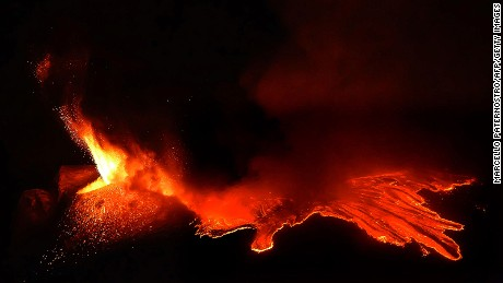 Special effects brought Mount Etna back to fiery life.
