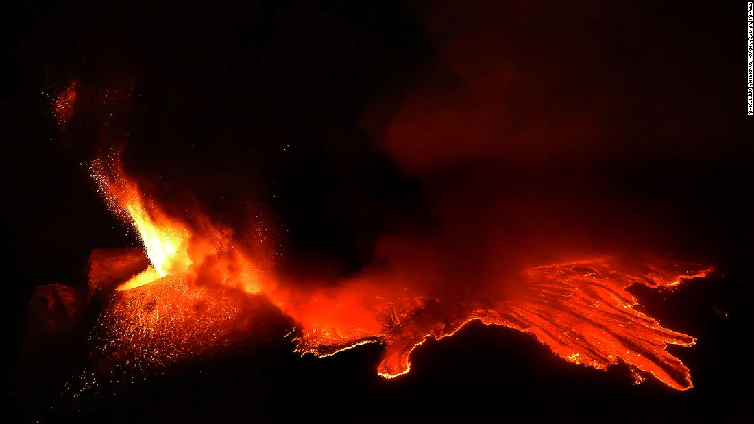 "By the magic of cinematic special effects, the lava flows on Sicilian volcano Etna provided the hellish backdrop for a battle scene between Obi-Wan and Anakin in ""Revenge of the Sith."""