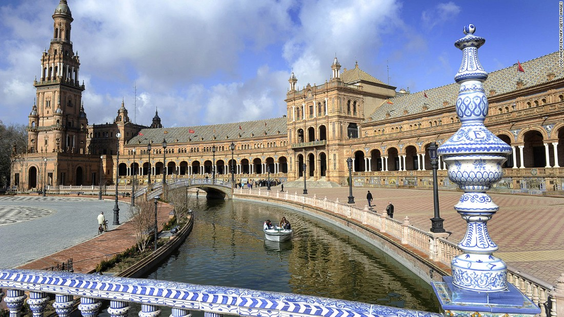 "The majestic Plaza de Espana in the Spanish city of Seville was originally built for the 1929 Ibero-American Exposition. In ""Attack of the Clones"" and ""The Phantom Menace,"" it doubles as a palace on Naboo where Anakin and Padme get to stroll among its colonnades."