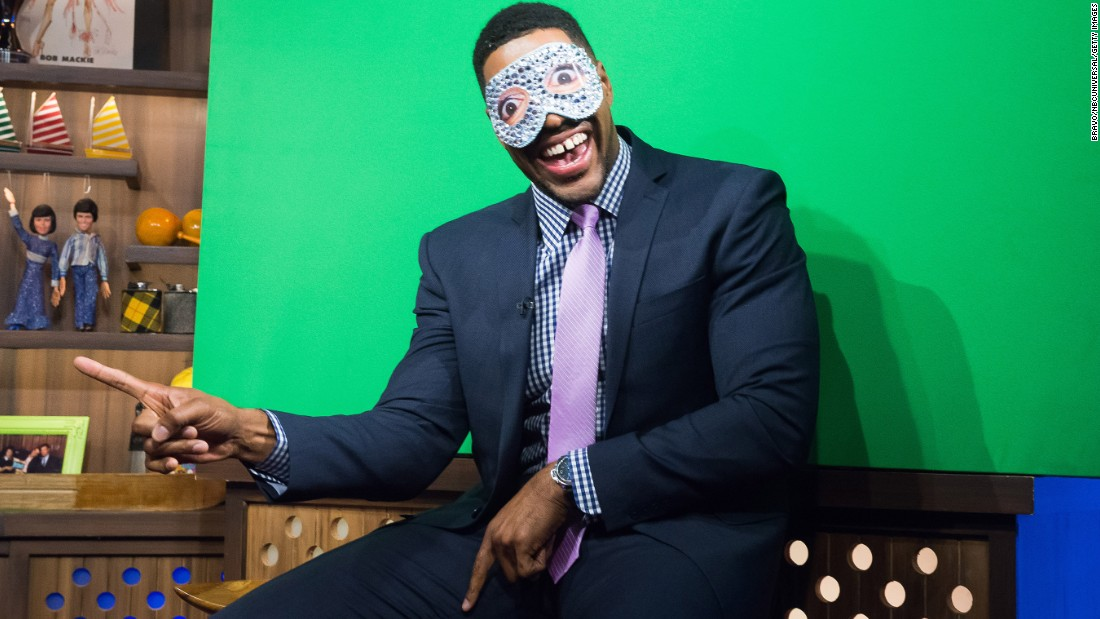 "Television personality Michael Strahan clowns around on the set of Bravo's ""Watch What Happens Live"" on Thursday, October 15."
