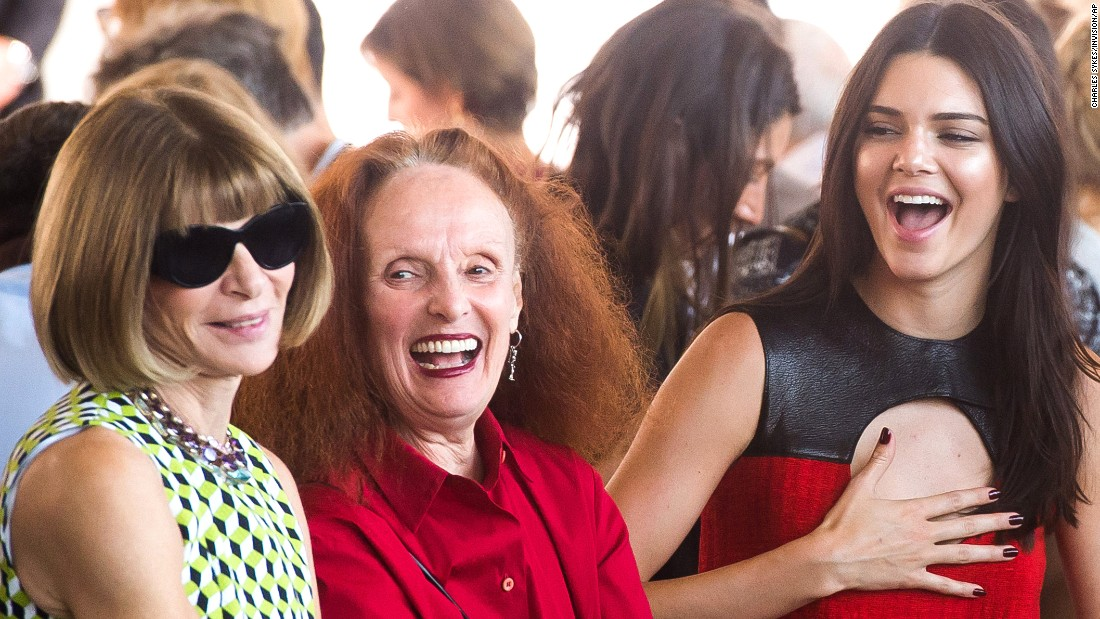 Model Kendall Jenner, right, attends a Calvin Klein fashion show in New York with Vogue editor-in-chief Anna Wintour, left, and Vogue creative director Grace Coddington on Thursday, September 17.