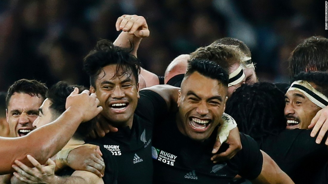 "Rugby players from New Zealand celebrate after winning the Rugby World Cup final Saturday, October 31, in London. It was the second straight title for the ""All Blacks,"" who also won the event in 2011."